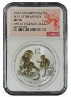 2016 P Australia Silver Gilt/Gilded Monkey NGC MS70 One Of First 500 Struck