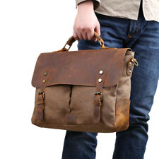 Men Briefcase Satchel Shoulder Messenger Laptop Bag Tote Handbag Leather Canvas