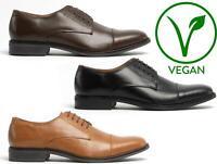 Mister Carlo MASON Mens PU Vegan Leather Toe Cap Derby Oxford Formal Shoes Black