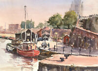 John A. Case - 20th Century Watercolour, Harbour Towns