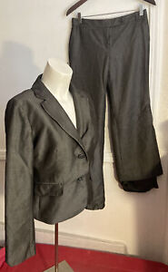 Ann Taylor LOFT Petite Womens 2 Pc Pant Suit Dark gray pinstripe 4p