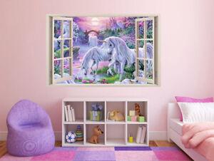 FULL COLOUR Unicorn Wall Art, Modern Transfer, PVC Decal, 3D Window, Sticker