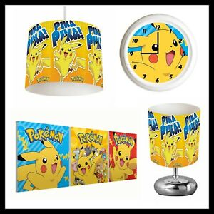POKEMON PIKACHU - Bedroom in a Box - Lampshade, Lamp, Clock, Canvas Prints