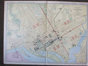 1922 LARGE MAP ~ WASHINGTON D.C CITY PLAN ~ RAILROADS CAR LINES PUBLIC BUILDINGS