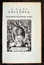 Jacob Cats 1700 Original Kupferstich Galathea Folio 44 x 28cm Antique print