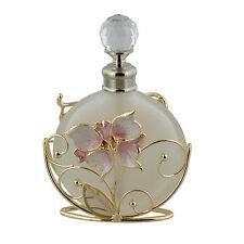 Perfume Bottle Frosted Glass Wirework Pinky Peach Enamel Butterfly Flowers 639PB