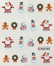 Nail Art Water Decals Christmas Snowman Santa Gingerbread Man Holidays BLE1583