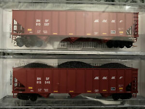 N Scale Micro Trains MTL 100 Ton 3 Bay Ribbed Coal Hopper BNSF Runner Pack Se