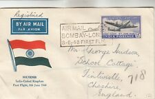 India-UK Registered First Flight Cover