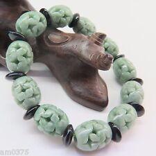 Bracelet Lucky Carved Bead &Black Piece New Fine 13mm Green Jadeite Jade Beads