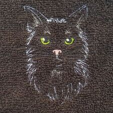 Embroidered Black 100% Egyptian Cotton Face Cloth / White Pussy Cat