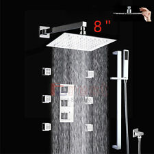 Thermostatic 3 Outlet Shower System Set With Square Head Rail Kit& Massage Jets