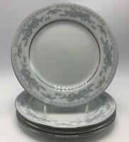 "Somerset by Excel 4 Bread Plates 7"" Blue Flower Ribbon Band Platinum Trim"