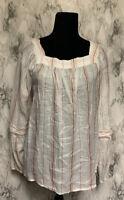 LC Lauren Conrad Size L White & Pink Striped Square Neck Voluminous Sleeve Blous