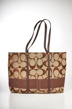-Coach Large Signature Stripe Tote Bag - Brown CO6K-11099