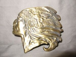 "Solid Brass Indian Chief Profile Belt Buckle 3"" Length VGC"