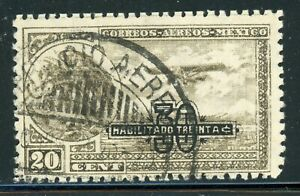 MEXICO Used Air Post Selections: Scott #C46 30c/20c Brown Olive PERF 12 CV$30+