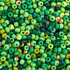 20 Grams Czech Rocailles Preciosa 8/0  Seed Beads - Green Mix - Size 8 (PS0100)
