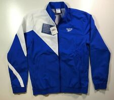 NWT! Reebok Track Windbreaker Jacket Size M Retro Blue White