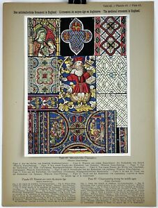 GLASS PAINTING MIDDLE AGES 1914 Historical Ornament Print Middle Ages Print