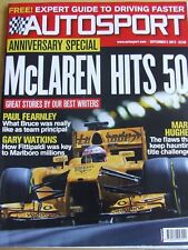 AUTOSPORT MAGAZINE SEP 2013 MCLAREN HITS 50 GUIDE TO DRIVING FASTER MARK HUGHES