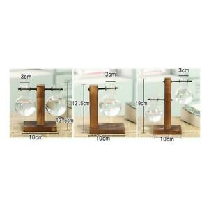 Plant Glass Vase Hydroponic Flower Pot Wooden Stand Display Terrarium F7O5