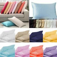 Silk Pillowcase 100% Pure Silk Soft Pillowcase Colorful Satin Home Accessory 1PC