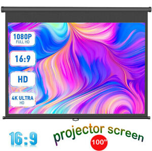 """100"""" Manual Pull-Down Projector Screen 16:9 Projection Home Movie Cinema Theater"""