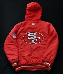SAN FRANCISCO 49ERS STARTER HEAVY PARKA JACKET QUILTED LINING HOOD MEN RED L