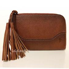 FRYE Paige Tassel Brown Cognac Leather Zip Wallet Wristlet Bag NWT