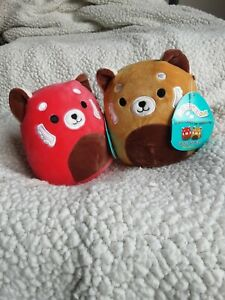"""SQUISHMALLOWS ~ CiCi & Seth ~ RED PANDA PAIR Plush 5"""" ~ NEW with tags"""