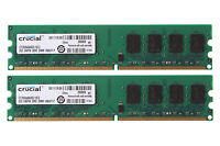 4GB Crucial 2PCS 2GB DDR2 800MHz PC2-6400 INTEL Desktop RAM DIMM Memory PC6400