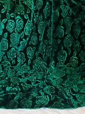 "Green Embossed Rose Floral Print Velvet Dress Upholstery Fabric 58"" Wide Stretch"