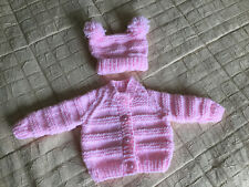 Baby Girls Hand Knitted Pink Cardy And Hat Set 0-3 Months
