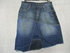 Full Circle UK 10 Skirt Blue Denim Cotton W 28 Distressed Patchwork Style EUR 38