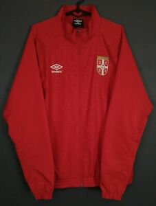 RARE MEN'S UMBRO SERBIA NATIONAL TRACK JACKET SOCCER FOOTBALL RED SIZE L LARGE