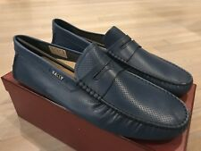 550$ Bally Dridor Blue Perforated Leather Driver Size US 12 Made in Italy