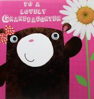 To a lovely Granddaughter Birthday greeting card, bear theme, brand new