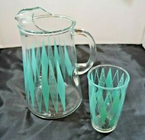 Vintage Anchor Hocking MCM Turquoise Diamond Atomic Pitcher with one glass