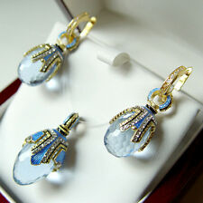 SALE ! SUPERB ENAMEL EGG PENDANT and EARRINGS SET STERLING SILVER 925 BLUE TOPAZ
