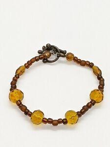 Artisan Bronze Tone Amber Color Yellow Brown Glass Bead Bracelet