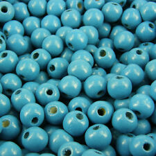 * 100 * aqua blue craft ronde en bois 10mm bijoux perles W310