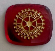 1930's Rotary International Incised Gold Filled Ruby Glass Intaglio