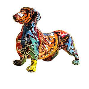 Nordisch Gemalt Bunt Dackel Hund Figur Skulptur Statue Statue Ornament A.