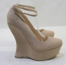 "NEW Skintone 6""Wedge Heel 2""Platforms Ankle Strap Sexy Sandals Shoes Size 8"