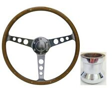 FORD F100,BRONCO SAAS Classic Steering Wheel 365mm Wood Grain &Polished Boss Kit