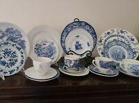 20 pc Set Vintage Mismatched China & Ironstone - 4 Place Settings - Blue & White