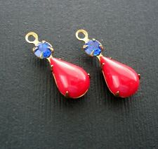 4- Vintage Opaque Red Acrylic Pear Shaped Stone and Round Blue Rhinestone.