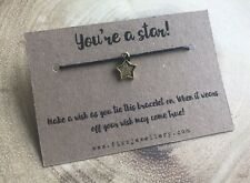 You're a Star! Black Cord Star Message Card Tie Wish Bracelet Gift Well Done
