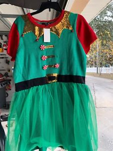 Junior XL Green Ugly Sweater Elf Dress Tulle Xmas 33 Degrees  NWT Some Damage